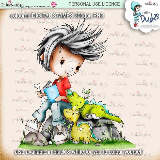 Dino Mite - PRECOLOURED - Little Dudes digi stamp printable download