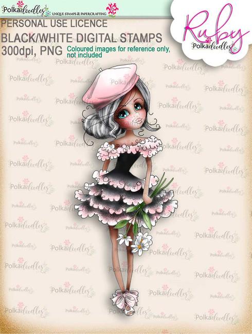 Ruby Oo-la-la - precoloured digi stamp download