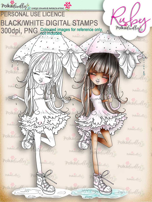 Ruby Raindrop Umbrella - black/white digi stamp download - black/white digi stamp download