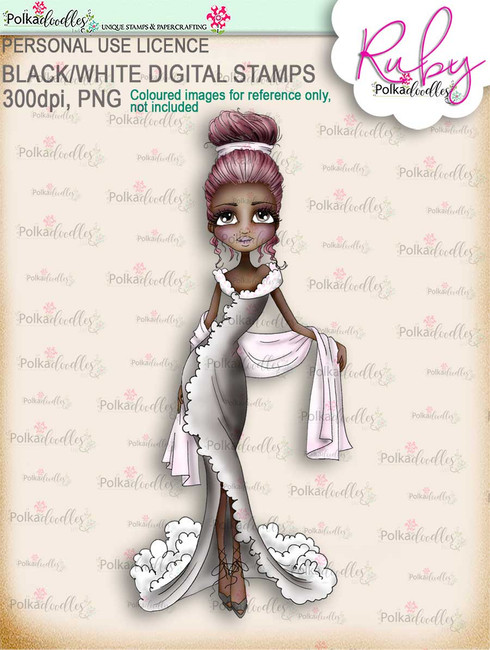 Ruby Chic - precoloured digi stamp download