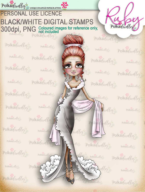 Ruby Chic (2) - precoloured digi stamp download