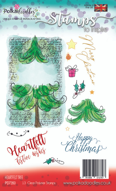 Heartfelt Tree Stamp Set - 13 Clear Stamps