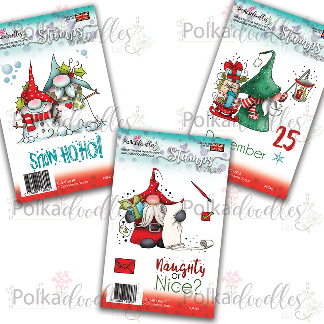Christmas Gnomes - 3 x  Clear Polymer Stamp sets
