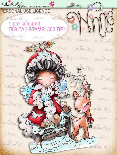 Musical Winter - COLOUR Winnie Angel. Printable digital stamp download