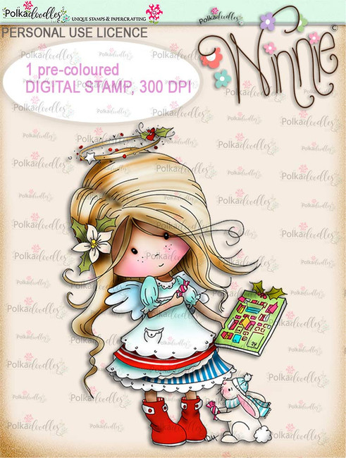 Advent Calendar - COLOUR Winnie Angel digital stamp download