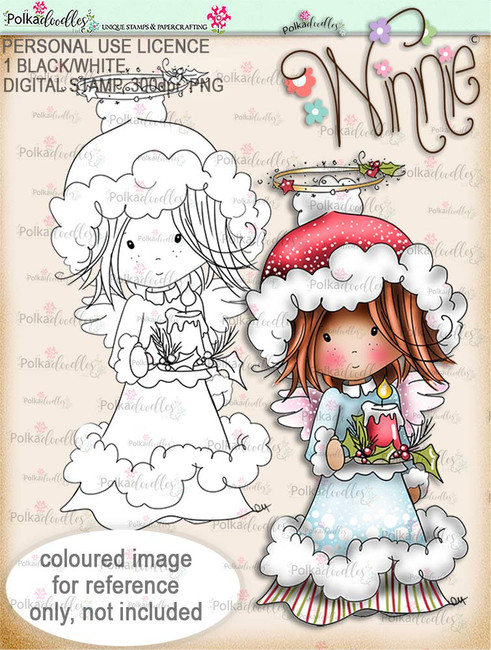 Light up Christmas - Winnie Angel digital stamp download