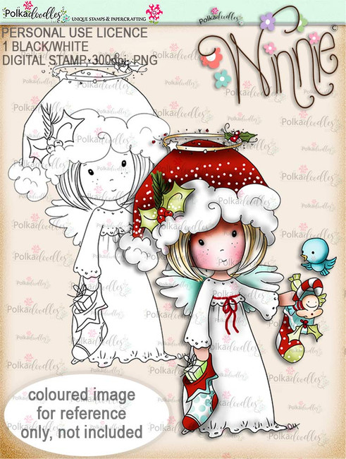 Stockings up - Winnie Angel digital stamp download