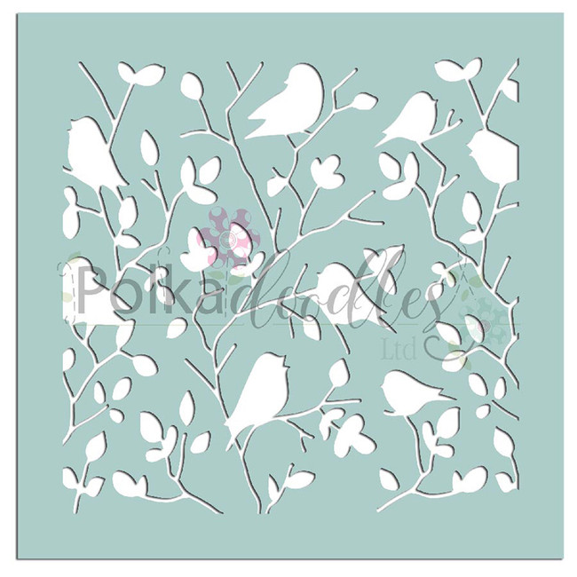 "Tweet Branches - 6 x 6"" creative craft mixed media stencil"