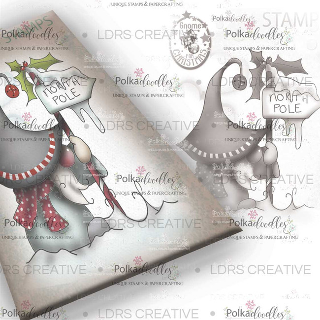 North Pole Gnome Grey Rubber Stamp