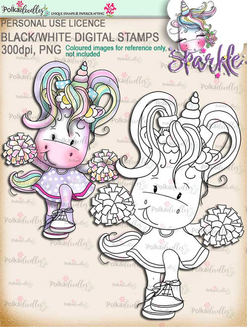 Big Cheer - Sparkle Unicorn digi stamp download