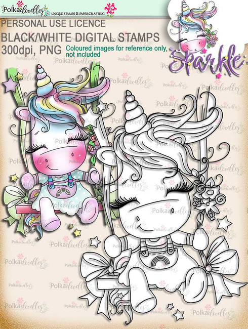 Swingin' By to Say Hi -  Sparkle Unicorn digi stamp download