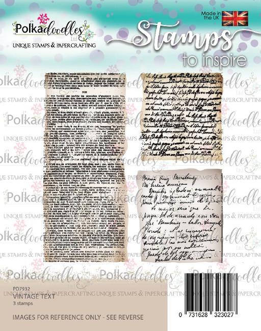 Vintage Text clear stamp set