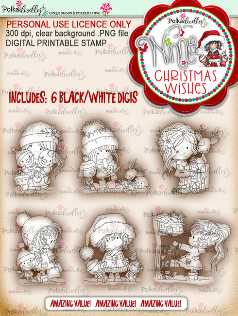 Winnie Christmas Wishes Digi Stamp bundle - digi scrap printable download bundle