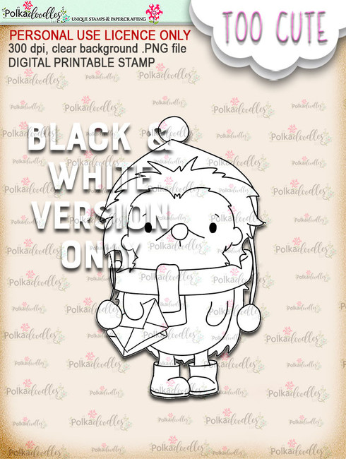 Holly Hedgehog Mail - Too Cute digital papercrafting download
