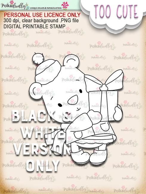 Bella Bear Gift - Too Cute digital papercrafting download