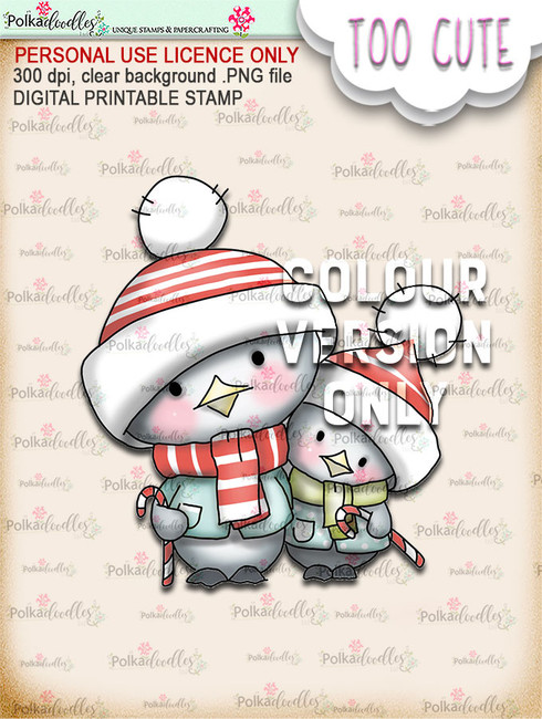 Penguin Candy Canes - Coloured - Too Cute digital papercrafting download