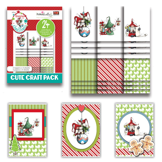Gnome Ho Ho - Cute Craft Topper Pack - 24 sheets