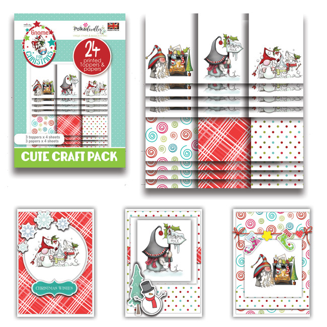 Gnome Xmas Fun - Cute Craft Topper Pack - 24 sheets