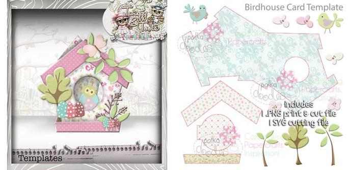 Birdhouse 3 Card template SVG Cutting file - Digital Craft Download
