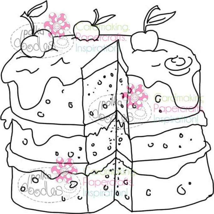 Cherry Cake Digital Stamp Craft Download