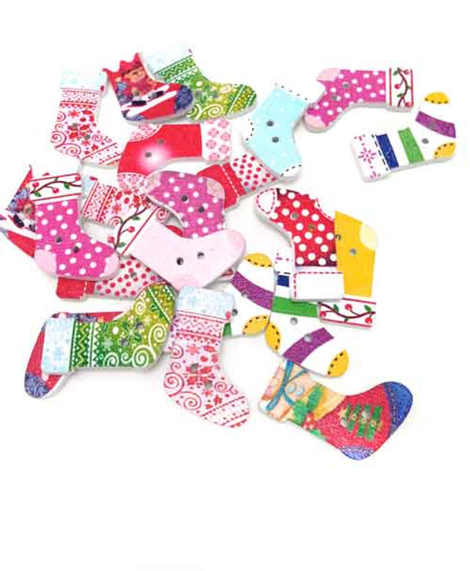 Christmas Stockings Wooden Button Embellishments (10)