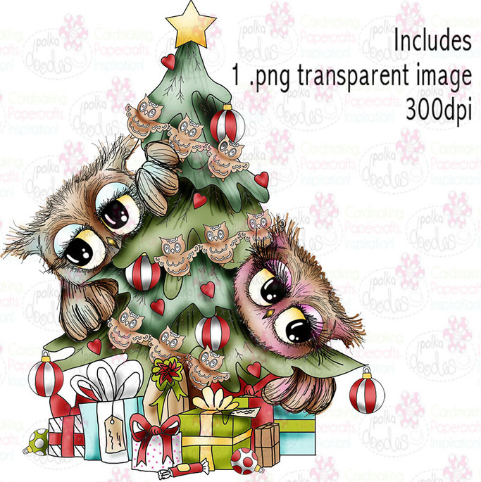 Trimming the tree - Twiggy & Toots - Digital Craft Stamp Download