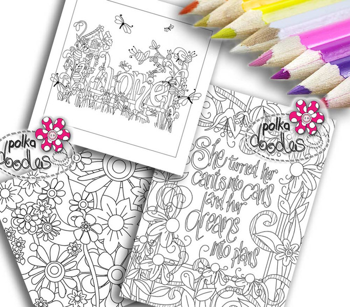Adult Colouring pages bundle 10 - Downloadable Adult printable Colouring Book Pages