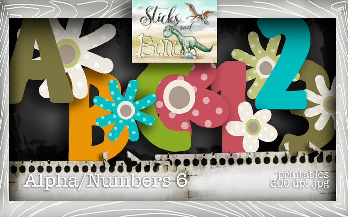 Sticks & Bones - Alphabet 6 - Digital Stamp CRAFT Download