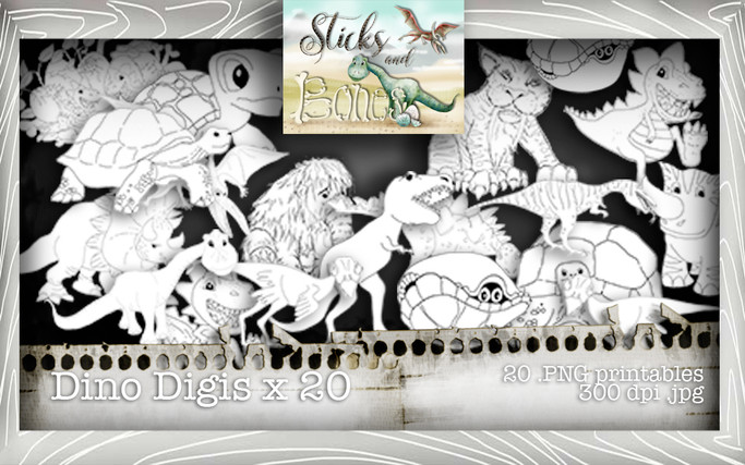 Sticks & Bones - Dinosaur image Bundle - Digital Stamp CRAFT Download