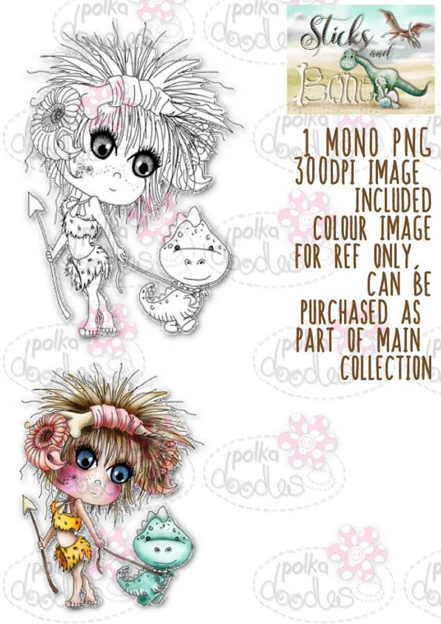 Sticks & Bones - Walk the Dinosaur girl - Digital Stamp CRAFT Download