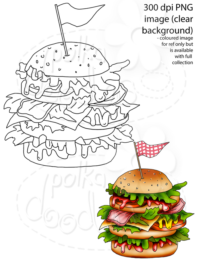 Burger Digital Stamp - Printable Crafting Digital Stamp Craft Scrapbooking Download