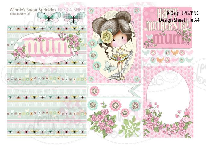 Winnie Sugar Sprinkles Springtime DESIGN SHEET 5 - Printable Crafting Digital Stamp Craft Scrapbooking Download