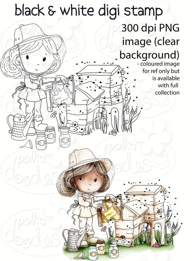 Buzzy Bee Honey - Winnie Fruit Punch Printable Digital Craft Stamp Download, digiscrap