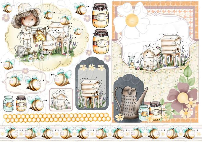 Honey Buzzy Bee - Winnie Fruit Punch Printable Digital Craft Stamp Download, digiscrap