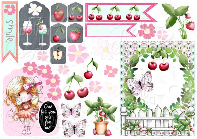 Cheers - Winnie Fruit Punch Printable Digital Craft Stamp Download, digiscrap