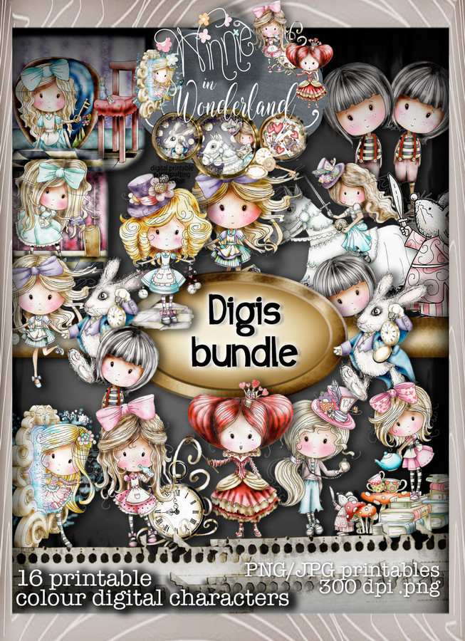 Winnie in Wonderland - (BIG KAHUNA DOWNLOAD) Printable Digital card/scrap collection