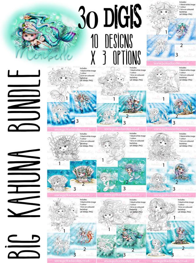 Meribelle Mermaid - 30 digital craft stamp download bundle