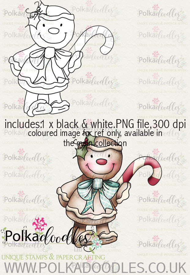 Baked With Love - Gingerbread man Candy cane digital craft download
