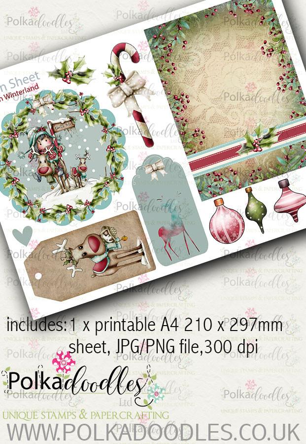 Winnie Winterland - Design Sheet 2 digital craft papers download