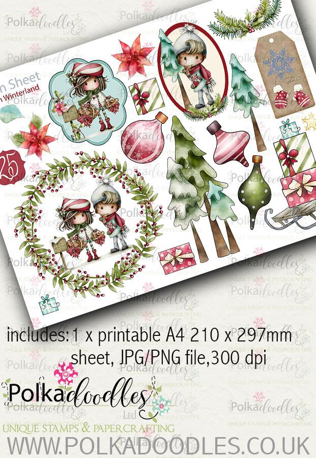 Winnie Winterland - Design Sheet 10 digital craft papers download