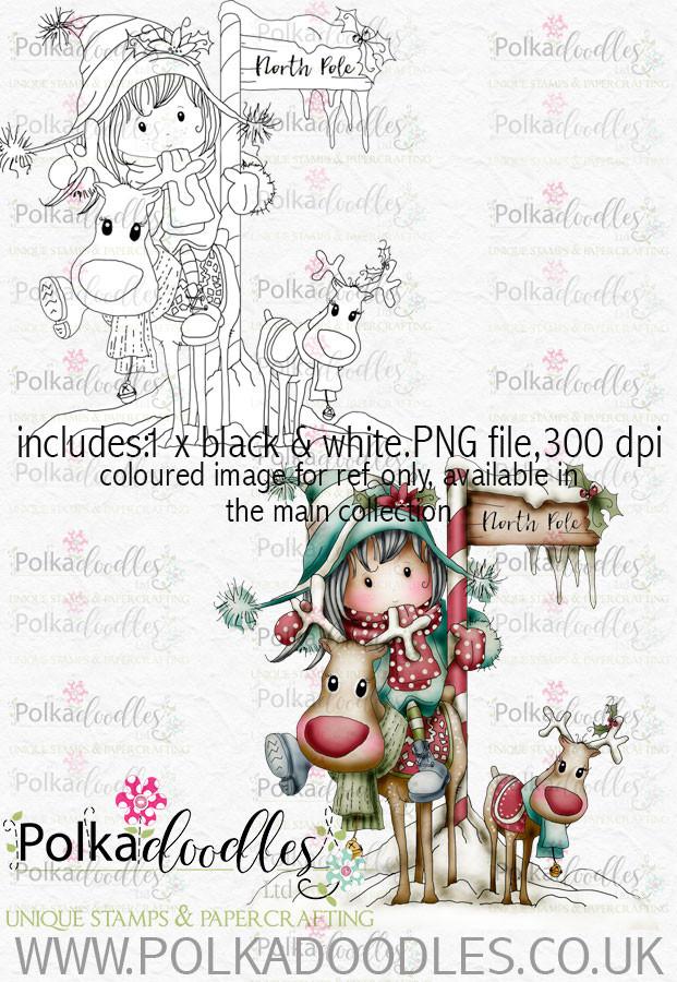 Kit & Clowder class Winnie Winterland - North Pole digital craft stamp download
