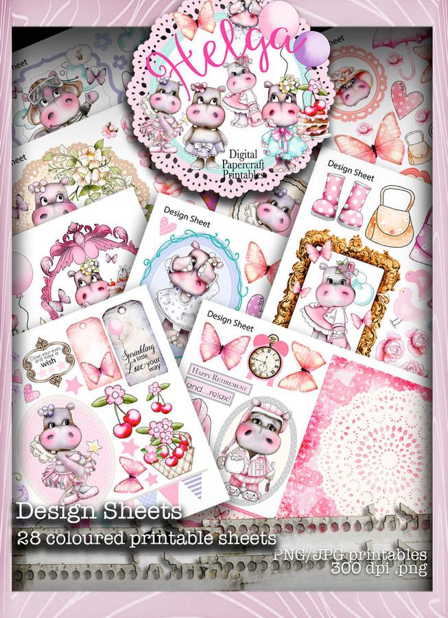 Helga Hippo Design Sheets download bundle