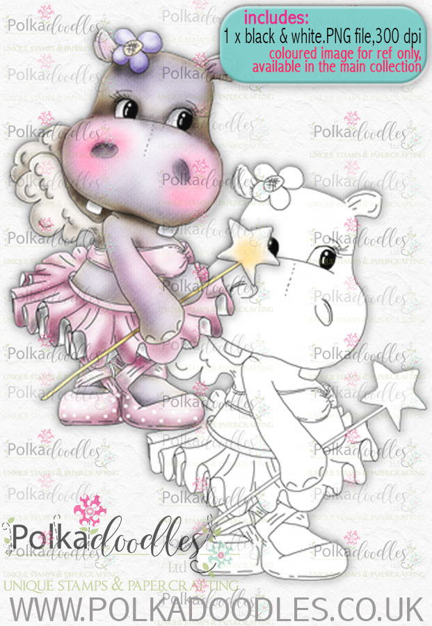 Helga Hippo - Fairy Princess - download digi stamp