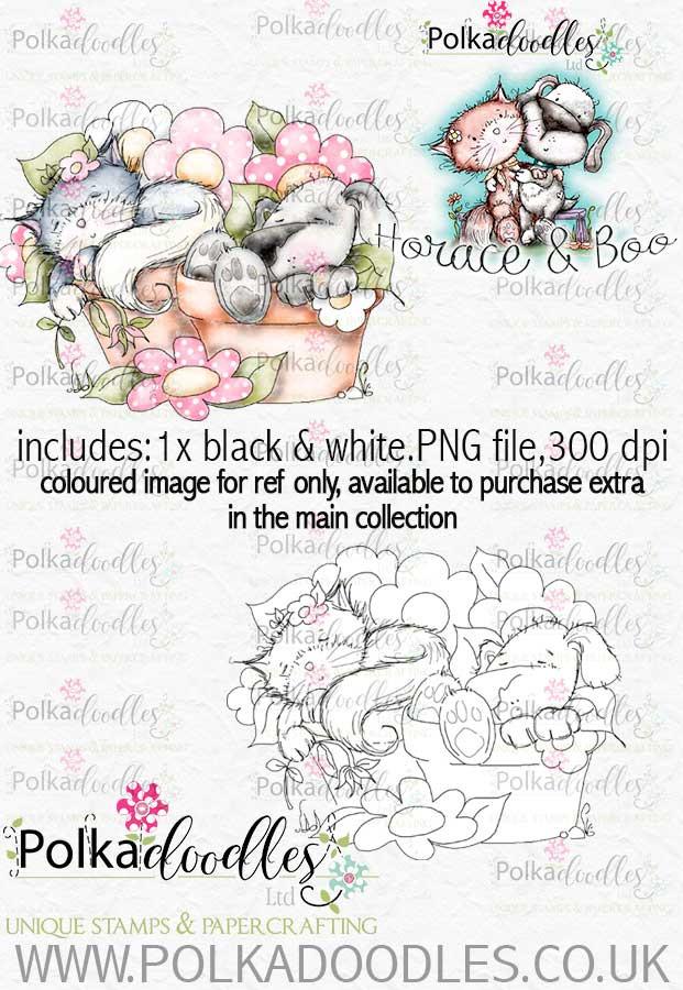 Sleepy Pots - Horace & Boo download printable stamp