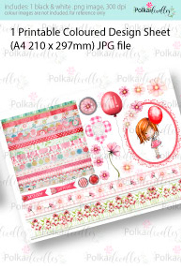 Girl with the red balloon. Coloured Card making Design Sheet - Winnie Special Moments...Craft printable download digital stamps/digi scrap kit
