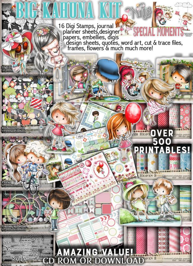 Big Kahuna value, Winnie Special Moments...Craft printable download digital stamps/digi scrap kit 500 digital stamp clipart