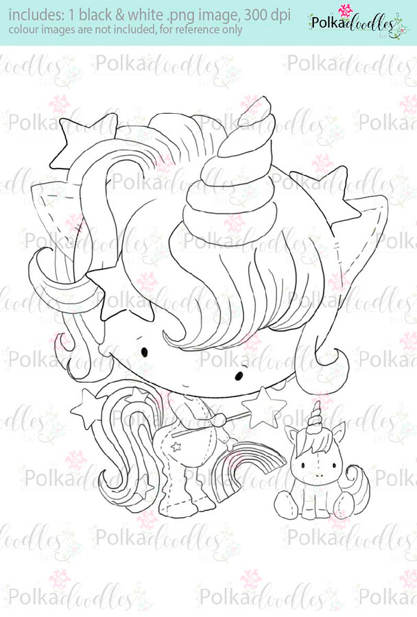 Lil Miss unicorn - Sugarpops Kit 1...Craft printable download digital stamps/digi scrap kit