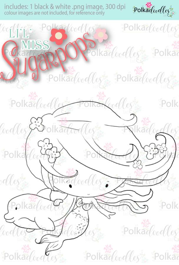 Lil Miss Mermaid dolphin digi stamp - Lil Miss Sugarpops 3 craft digi download