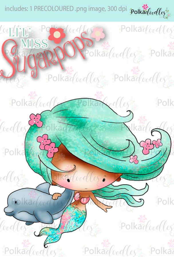 Lil Miss Mermaid dolphin precoloured digi stamp - Lil Miss Sugarpops 3...Craft printable download digital stamps/digi scrap