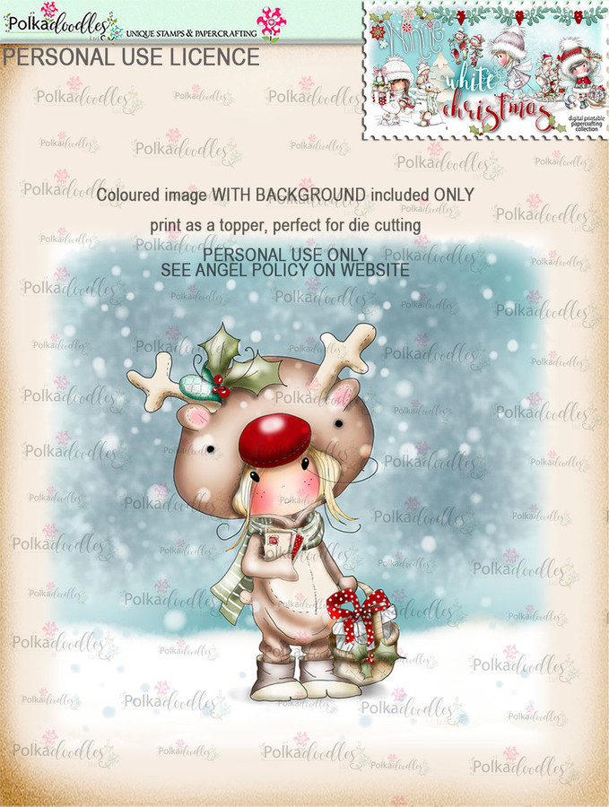 Rudolph Onesie delivering gifts - Coloured Digital Stamp download. Winnie White Christmas printables.Craft printable download digital stamps/digi scrap